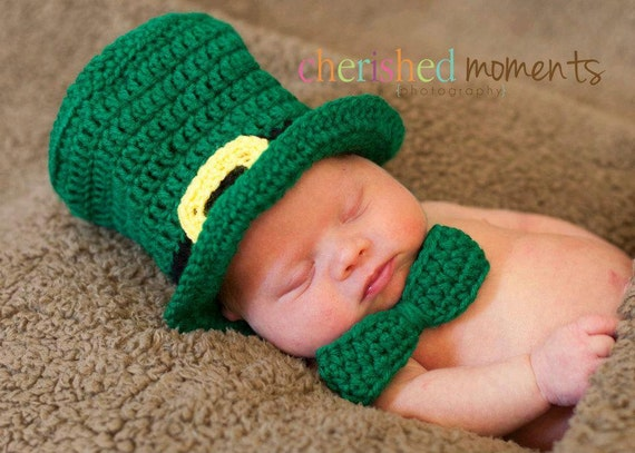 PATTERN Leprechaun Hat & Bow Tie - Crochet - St Patrick's Day
