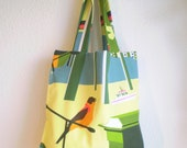 Fabric bag with little birds, colorful in the country house style