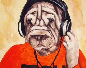 Print Illustration Art Poster Acrylic Painting Kids Decor Drawing Gift : DJ Bulldog Shar Pei