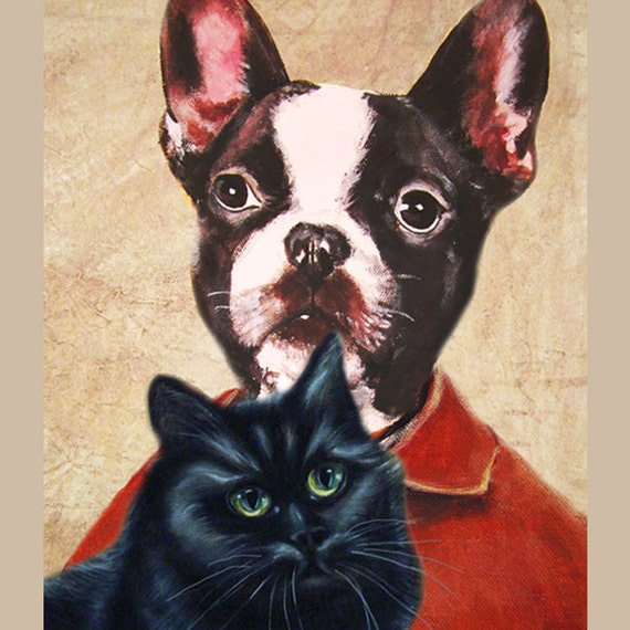 Illustration Print Art Poster Acrylic Painting Kids Decor Drawing Gift : Bulldog with Black Cat