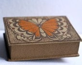 Soviet leather vanity box made in USSR butterfly print