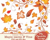 Digital Clipart Maple Leaves and Vine (12 separate digital graphics) Set for Personal and Commercial Use  Paper Crafts Digital Graphics