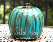 Gorgeous Thanksgiving Turquoise Aqua Hand Painted Pumpkin