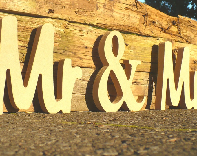 Unpainted Mr & Mrs Wedding sign. Custom wooden wedding table decor signs.