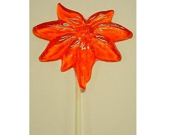 1 dz Hard Candy Poinsettia Shaped Lollipop Christmas Party Favors w/ Personalized Back Labels