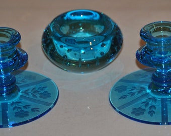 DISCOUNTED - 2 Etched Bright Blue Glass Candleholders and Votive