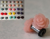 Perfect size flower plugs for gauged ears: 14g (1.6mm),12g (2mm),10g (2.4mm),8g (3mm),6g (4mm), 4g (5mm),2g (6mm), 0g (8mm)