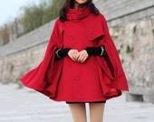 red cape Wool Cape Cashmere coat breasted button coat winter coat  cloak  cape dy04 M,L - colorstore2011