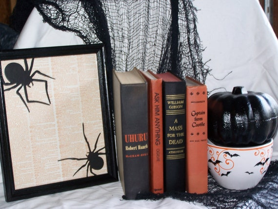 Halloween decor vintage book collection display bundle library gothic  black orange home decor photo prop