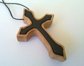 Wooden Cross Necklace-Hand-Carved Wooden Cross Pendant in two colors-natural and black