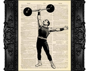 Circus Strongman, Athlete - Dictionary Art Print Vintage Upcycled Antique Book Page no.182
