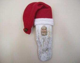 Driftwood Santa Claus/ Christmas Decoration/ Primitive santa/ Polymer clay santa/ maine driftwood/ wall hanging/ country decor/ rustic