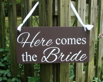 Here comes the Bride wedding sign   wedding signage   Bride and Groom   Mr and Mrs   ring bearer sign   Flower girl sign   Wedding decor
