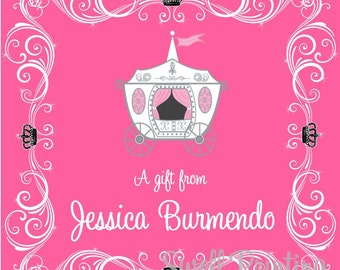 Printable Personalized 3-inch square Gift Tag or Label Princess Diva Gift Tags by Swell Printing