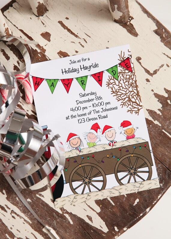 Printable holiday hayride invitation christmas