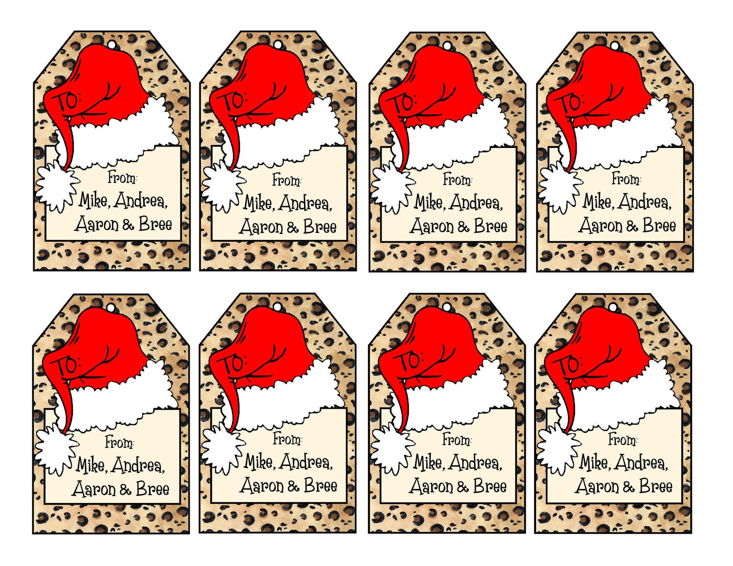 Printable personalized leopard print christmas gift tags zoom negle Gallery
