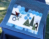 Quilt, Blue Grey Green White, Wall Hanging or Table Centerpiece