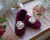 Burgundy Rose Slippers