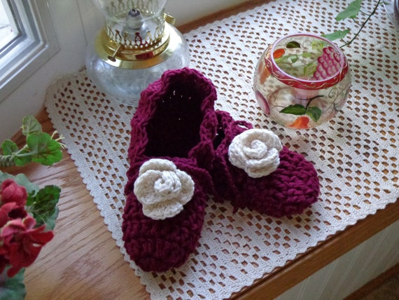 Burgundy Rose Slippers
