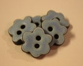 Set of 6 Petite Chocolate Stoneware Flower Buttons