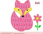 Fox Applique -4x4 5x7 -Machine Embroidery Applique Design