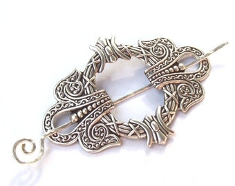Silver Celtic Shawl Pin, Silver Shawl Pin, Celtic Scarf Pin, Celtic hair Slide, wreath, oxidized silver, fall fashion, silver scarf pin