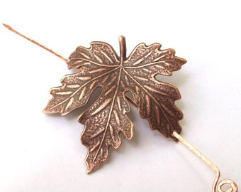 Maple Leaf Shawl Pin, Copper Leaf Scarf Pin, Hair Slide, oxidized, copper shawl pin, fall fashion, organic, barrette, brown, woodland