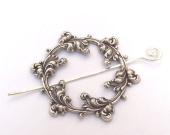 Silver Shawl Pin, Silver Scarf Pin, Round Shawl Pin,  silver hair slide, oxidized, plume, fall fashion, silver filled, round, victorian