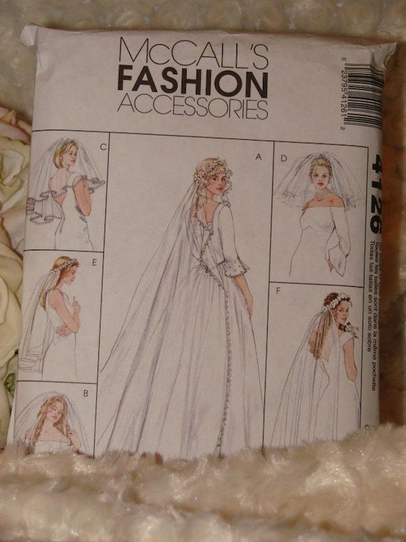 McCalls 4126 Vintage Bridal Wedding Veil Wedding Veil 6 Different Styles, Blusher, Veil Attached To Headband Sewing Pattern - OOP