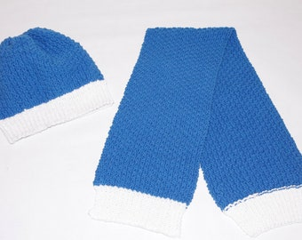 Baby cap and baby scarf in blue and white 100% of cotton