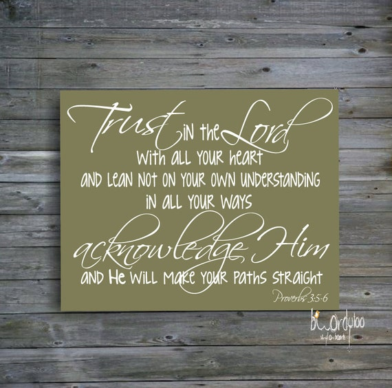 Scripture Wall Art Home Decor : Items similar to trust in the lord scripture wood sign
