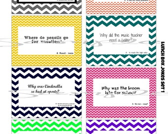 INSTANT Download School LUNCH BOX Jokes - (8) Printable lunchbox Notes Images for kids