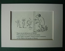 Vintage Edward Lear Original Print - Victorian Nonsense - Apples & Pears - Fruit - Rhyme - Minety - 1950 - Poetry - Poem - Door - Limerick
