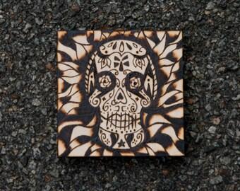 Sugar Skull Woodburning** Made to order