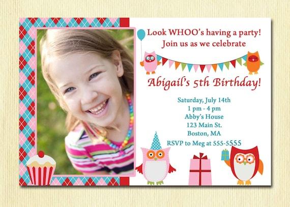 Items similar to Owl Birthday Party Girl Invitation - 1, 2, 3, 4, 5...Any Year Old Birthday ...
