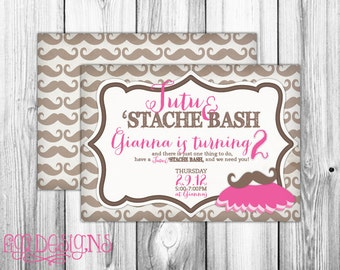 Tutu and Stache Bash Birthday Party Invitation