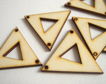 10 Wood Triangles Ready to be Painted, Unfinished Wood Triangles Tile for Jewelry,Geometric Jewelry, wood Triangles 4mm,