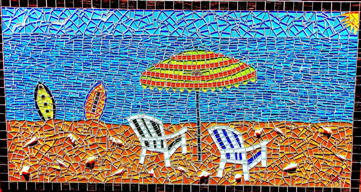 A day at the beach mosaic art for Mosaic art pictures