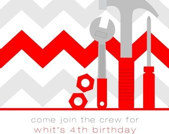 Tool Construction Party Invitation with Envelopes, Digital Download JPG, and Note Cards