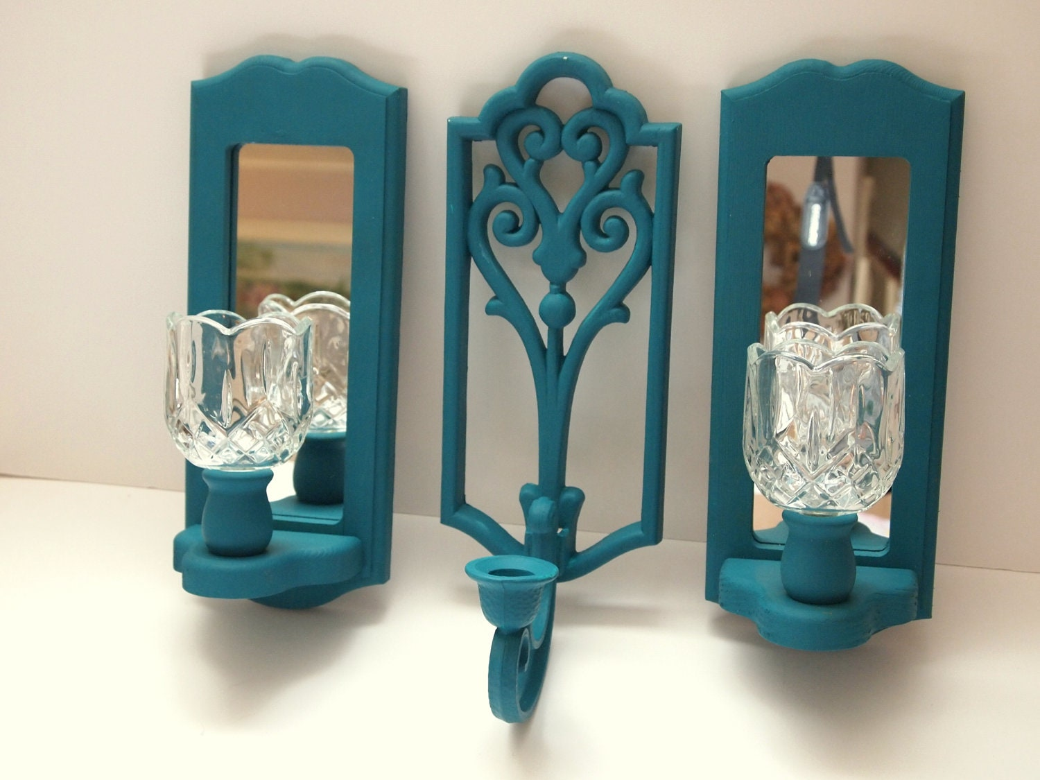 Mirror Wall Teal Candle Sconce Set Of Three Vintage Cottage