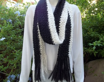 Long crochet  fringe scarf black and white READY TO SHIP