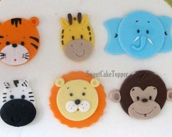 Safari Animal Fondant Cupcake Topper - Handmade Edible Cupcake Toppers - 12 Pcs