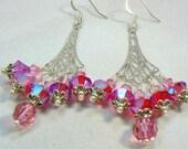 Pink Crystal Earrings Swarovski Crystal Earrings Chandelier Earrings Elegant Dressy Earrings