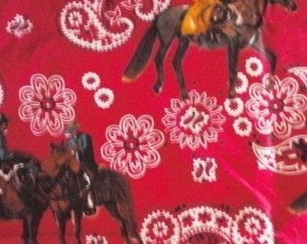 Red Cowboy print fabric - 1 Yard and 19 inches