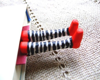 Striped socks bookmark- Wicked witch socks bookmark- Wicked witch bookmark- Inspired by Wizard of OZ- gift for kids, him, her