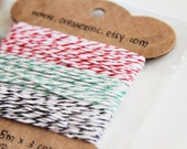 SET of 3 COLORS - Red. Mint Green. Black. 5m per color. Baker's Twines. For Hang Tags. Srapbooking. Gift Wrapping. Parties. Christmas