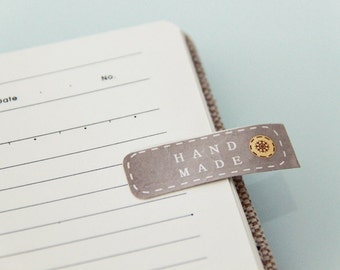 40 Rectangle Handmade Brown Paper Sticker Labels. 8cm x 1.3cm. Brown Kraft Style. Retro. Gift Wrapping. Stitch. Button