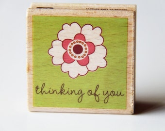 Thinking of You Wooden Rubber Stamp- Scrapbooking. Cardmaking. Tag Making. Stamping. DIY rubber stamps. Flower. Greetings