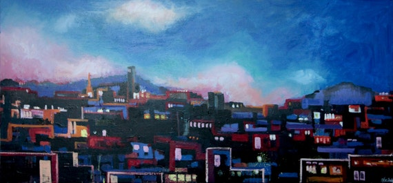 Barcelona city: Original acrylic on canvas picture