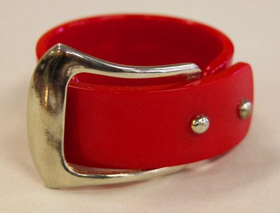 Bakelite Buckle Bracelet Lipstick Red, Very Vintage